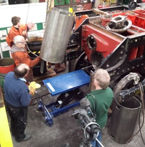 Fitting the cylinder liners. Photo courtesy of the LMS Patriot Project.
