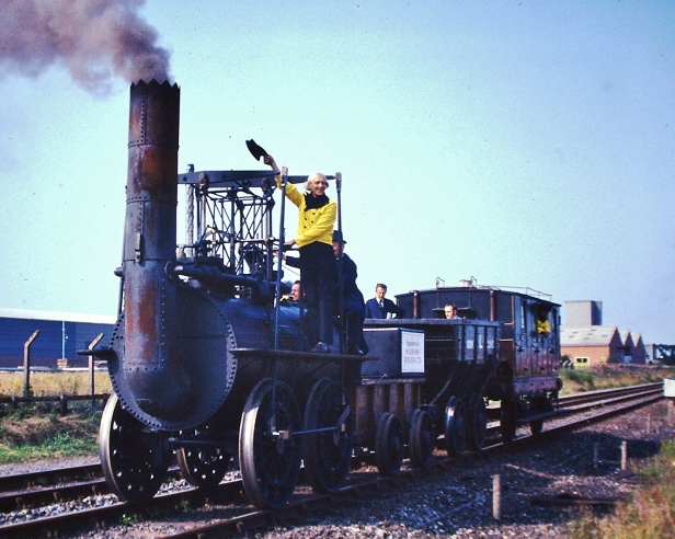 The Locomotion replica leading the 1975 cavalcade. Photo by Hugh Llewelyn on Flickr.